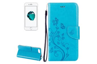 For iPhone 8 PLUS,7 PLUS Wallet Case,Fancy Butterflies Emboss Leather Cover,Blue