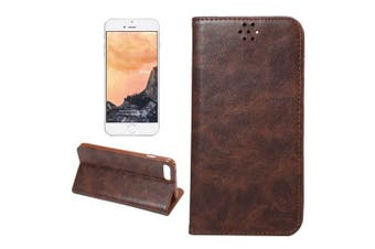 For iPhone 8 PLUS,7 PLUS Wallet Case,Elegant Horse Texture Leather Cover,Brown
