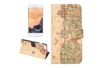 For iPhone 8 PLUS,7 PLUS Wallet Case,Elegant World Map Leather Cover,Yellow