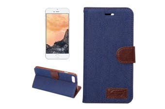 For iPhone 8 PLUS,7 PLUS Wallet Case,Cowboy Texture Leather Cover,Dark Blue