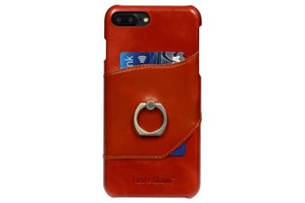 For iPhone 8 PLUS,7 PLUS Case,Fierre Shann Ring Holder Genuine Leather Cover,Red