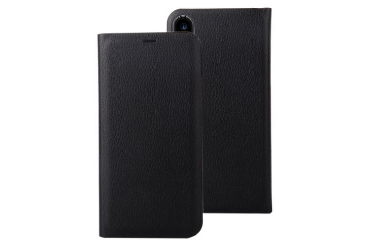 For iPhone XS,X Wallet Case,Modern Lychee Texture Shielding Leather Cover,Black