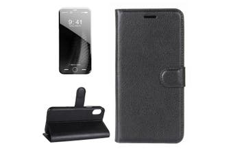 For iPhone XS,X Wallet Case,Styled Lychee Flip Protective Leather Cover,Black