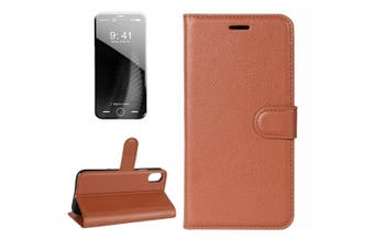 For iPhone XS,X Wallet Case,Styled Lychee Flip Protective Leather Cover,Brown
