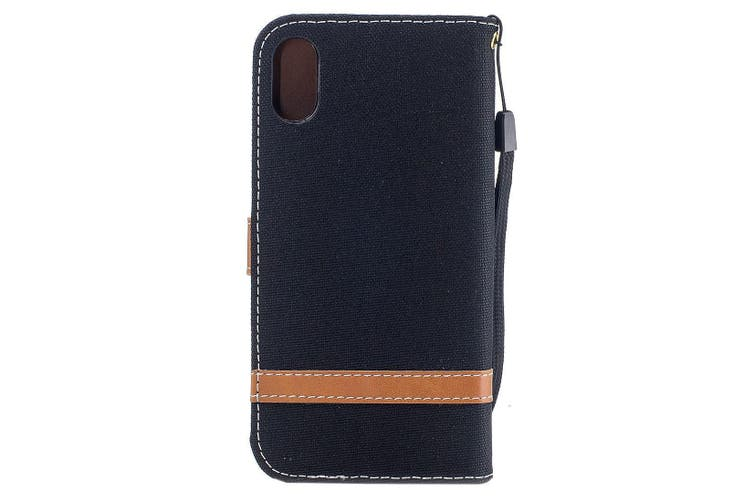 For iPhone XS,X Wallet Case,Styled Denim Leather Durable Protective Cover,Black