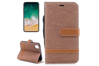 For iPhone XS,X Wallet Case,Styled Denim Leather Durable Protective Cover,Brown