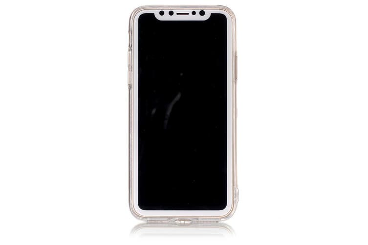 For iPhone XS,X Back Case, Marble High-Quality Durable Protective Cover,Black