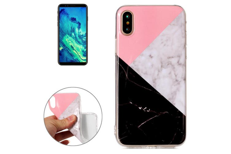 For iPhone XS,X Back Case, Marble High-Quality Protective Cover,Pink Black