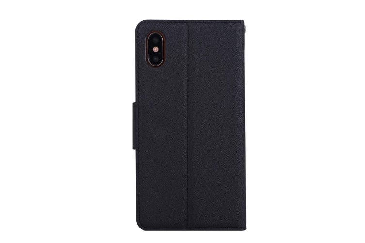 For iPhone XS,X Wallet Case,Elegant Silk Textured Protective Leather Cover,Black