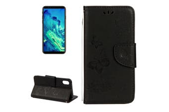 For iPhone XS,X Wallet Case, Pressed Flowers Butterfly Leather Cover,Black