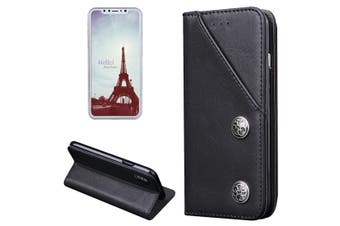 For iPhone XS,X Wallet Case,Modern Bronze Durable Protective Leather Cover,Black