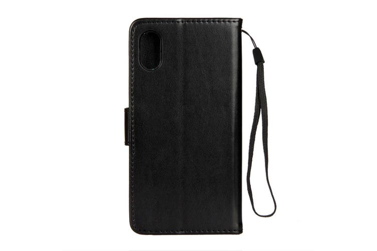 For iPhone XS,X Wallet Case, Lotus Butterfly Protective Leather Cover,Black