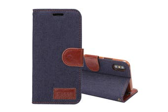 For iPhone XS,X Wallet Case,Styled Denim Texture Protective Leather Cover,Black