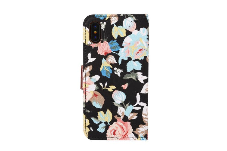 For iPhone XS,X Wallet Case,Styled Colourful Flower Pattern Leather Cover,Black