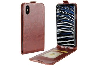 For iPhone XS,X Case, Horse Texture Vertical Flip Durable Leather Cover,Brown