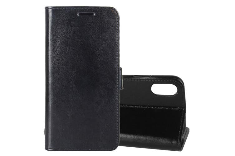 For iPhone XS,X Wallet Case, Wild Horse Texture Protective Leather Cover,Black