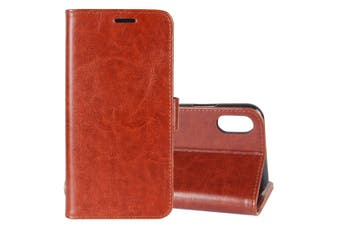 For iPhone XS,X Wallet Case,Styled Wild Horse Texture Protective Cover,Brown