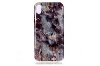 For iPhone XS & X Case Grey Marble Pattern Soft TPU Shockproof Back Shell Cover