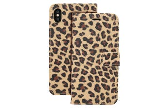 For iPhone XR Case Brown Leopard Pattern Leather Folio Wallet Cover