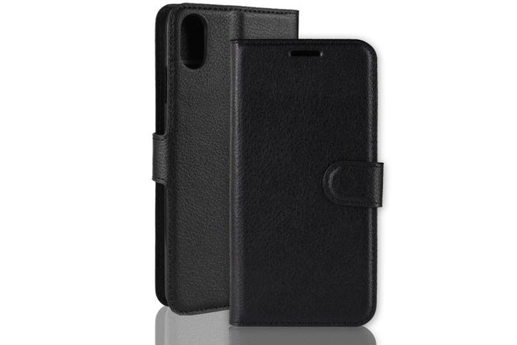 For iPhone XS & X Case Black Lychee Leather Wallet Flip Cover Card Slots,Kick Stand