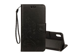 For iPhone XS MAX Case,Embossed Butterfly Flip Leather Wallet Stand Cover,Black