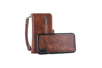 For iPhone XS Max Case,Zipper Leather Wallet Mobile Phone Cover Card Slot,Coffee
