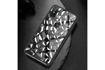 For iPhone XS Max Cover,Diamond Texture Electroplated Mobile Phone Case,Black