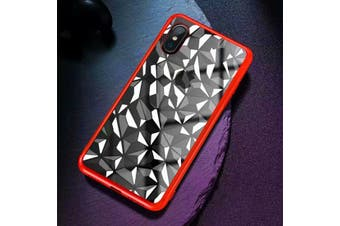 For iPhone XS Max Cover,Diamond Texture Electroplated Thin Mobile Phone Case,Red