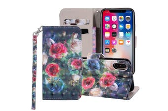 For iPhone XS Max Cover,Leather Card Slots Wallet Lanyard Mobile Phone Case,Rose