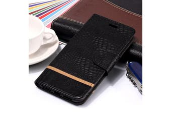For iPhone XS Max Cover,Crocodile Texture Folio Leather Mobile Phone Case,Black