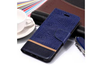 For iPhone XS Max Cover,Crocodile Texture Folio Leather Mobile Phone Case,Blue