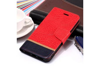 For iPhone XS Max Cover,Crocodile Texture Folio Leather Mobile Phone Case,Red