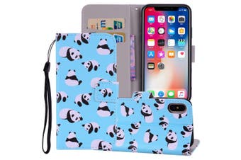 For iPhone XS MAX Cover,Leather Folio Wallet Card Slots Mobile Phone Case,Panda