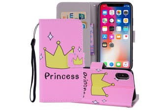 For iPhone XS MAX Cover,Leather Folio Wallet Card Slots Mobile Phone Case,Crown