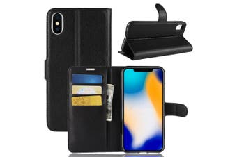 For iPhone XS MAX Cover,Folio Lychee Flip Leather Wallet Mobile Phone Case,Black