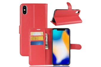 For iPhone XS MAX Cover,Folio Lychee Flip Leather Wallet Mobile Phone Case,Red