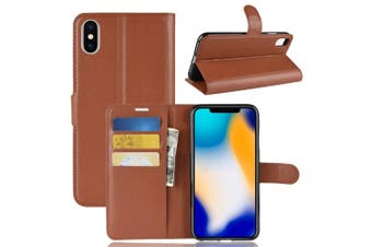 For iPhone XS MAX Cover,Folio Lychee Flip Leather Wallet Mobile Phone Case,Brown