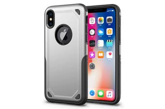 For iPhone XS Max Cover,Shockproof Rugged Armour Shield Mobile Phone Case,Silver
