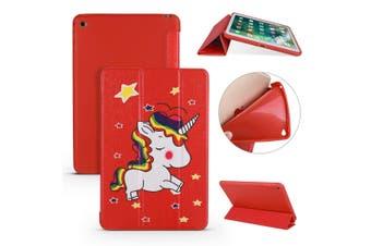 For iPad mini 5 (2019) Case,Folio PU Leather + TPU 3-fold Holder Cover,Unicorn