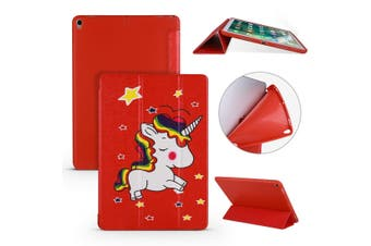For iPad Air 3 (2019) Case,Folio PU Leather + TPU 3-fold Holder Cover,Unicorn