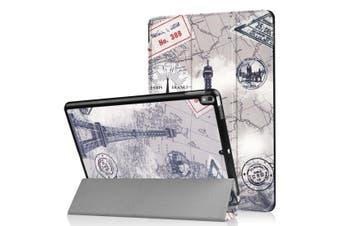 For iPad Air 3 (2019) Case Folio PU Leather 3-fold Sleep/Wake Cover Retro Tower