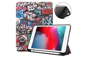 For iPad mini 5 (2019) Case,Folio PU Leather 3-folding Sleep/Wake Cover,Graffiti