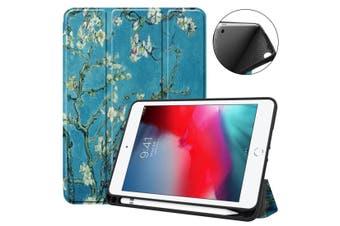 For iPad mini 5 (2019) Case Folio PU Leather 3-folding Sleep/Wake Cover Prunus