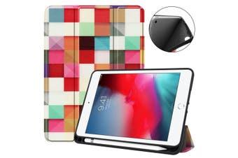 For iPad mini 5 (2019) Case Folio PU Leather 3-fold Sleep/Wake Cover Magic Cube