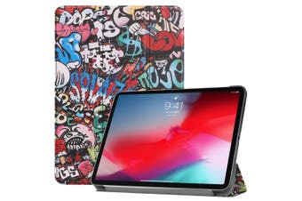For iPad Pro 11-inch 2018 Case,PU Leather Folio Cover,Graffiti Pattern