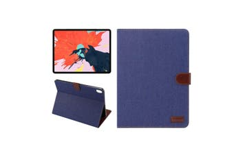For iPad Pro 11 Inch (2018) Case,PU Leather Folio Cover,Dark Blue Denim