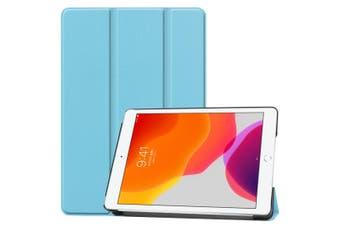 For iPad 10.2 Custer Texture Horizontal Flip Smart PU Leather Case , Smart Flip Cover Sky Blue
