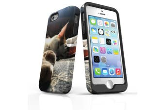For iPhone SE/5s/5 Case Armoured Tough Cover,Cozy Cat