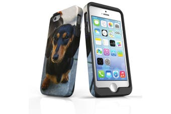 For iPhone SE/5s/5 Case Armoured Tough Cover,Black & Tan Dachshund