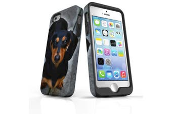 For iPhone SE/5s/5 Case Armoured Tough Cover,Black Tan Dachshund Portrait
